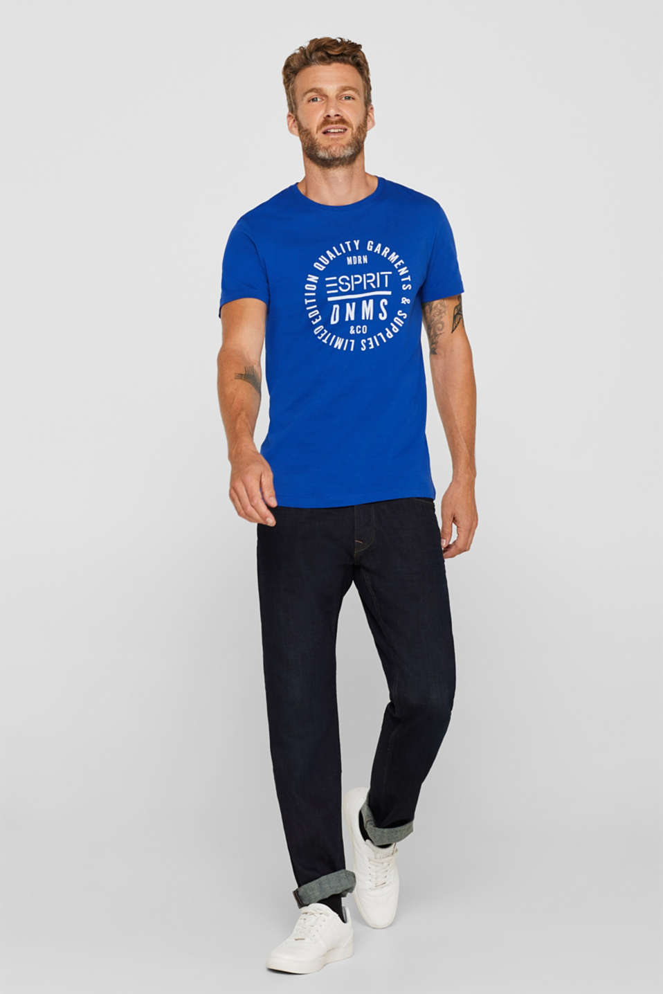Jersey T-shirt with logo print, 100% cotton, BRIGHT BLUE, detail image number 2