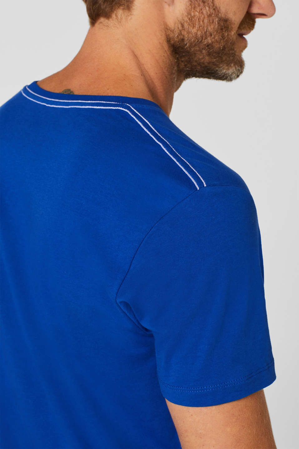 Jersey T-shirt with logo print, 100% cotton, BRIGHT BLUE, detail image number 1