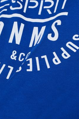 Jersey T-shirt with logo print, 100% cotton, BRIGHT BLUE, detail