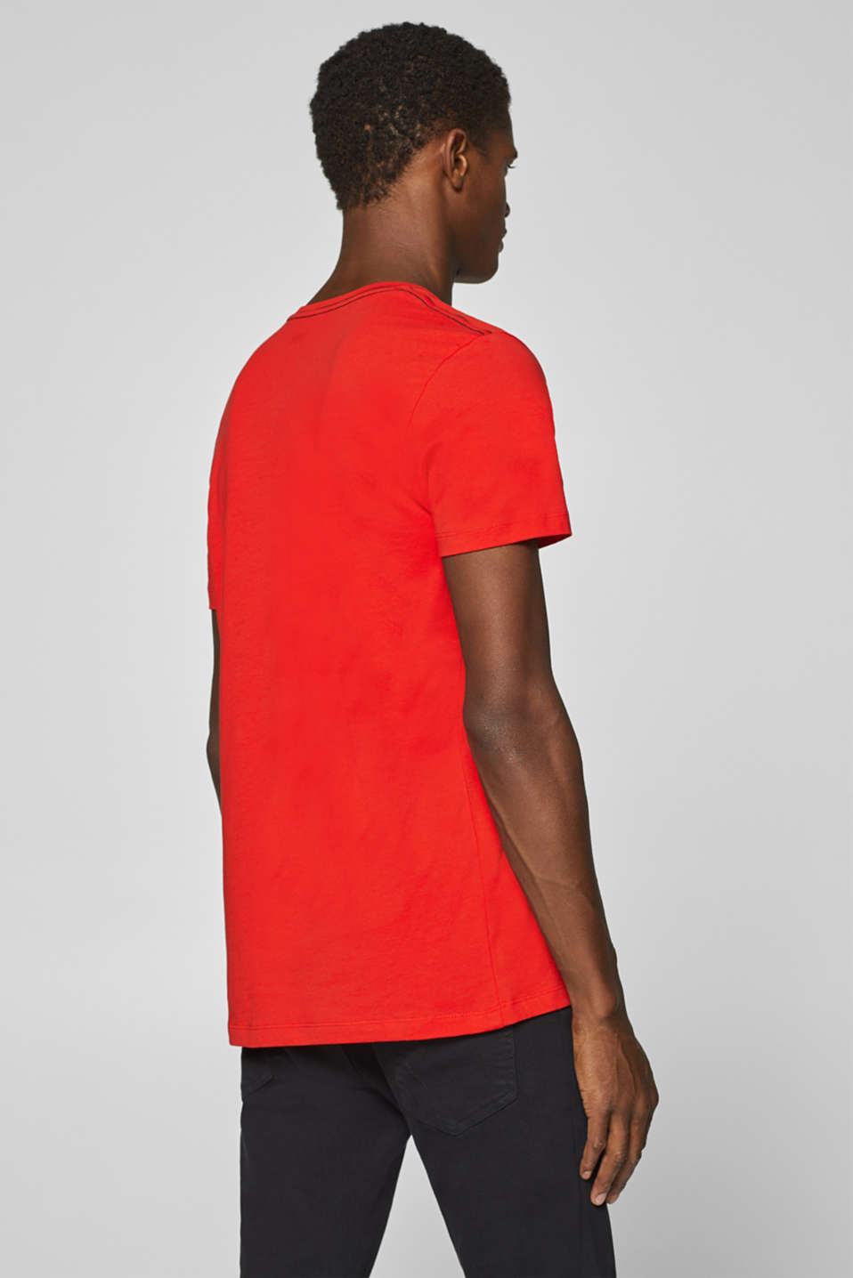 Jersey T-shirt with logo print, 100% cotton, ORANGE RED, detail image number 3