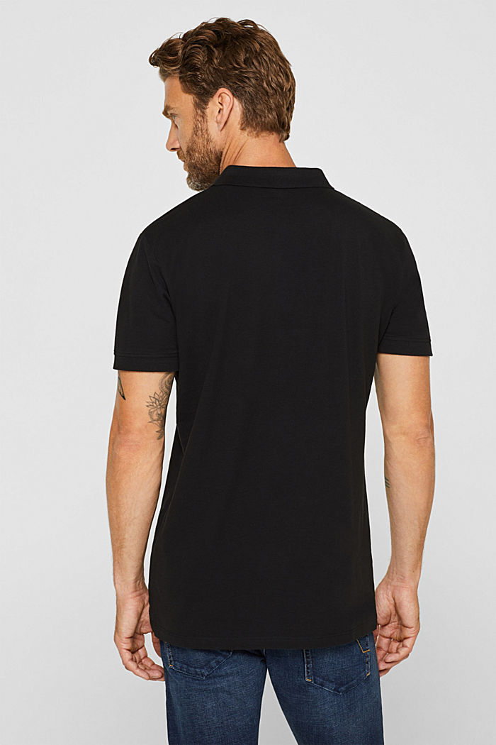 Piqué polo shirt in 100% cotton, BLACK, detail image number 3