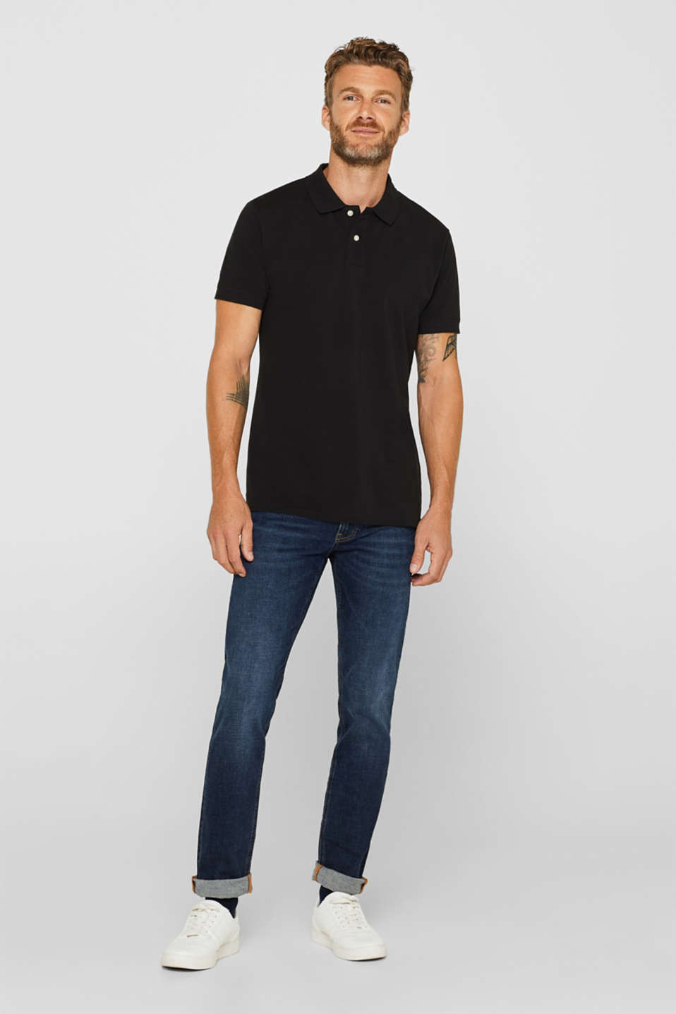 Piqué polo shirt in 100% cotton, BLACK, detail image number 2
