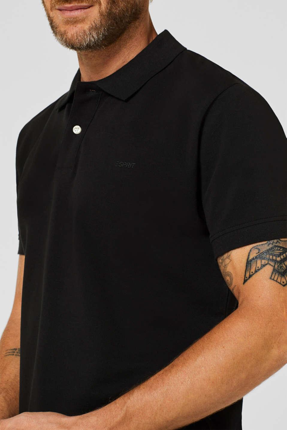 Piqué polo shirt in 100% cotton, BLACK, detail image number 1