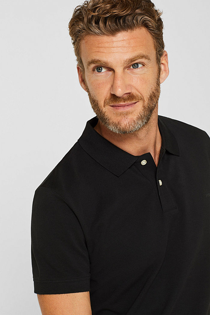 Piqué polo shirt in 100% cotton, BLACK, detail image number 5