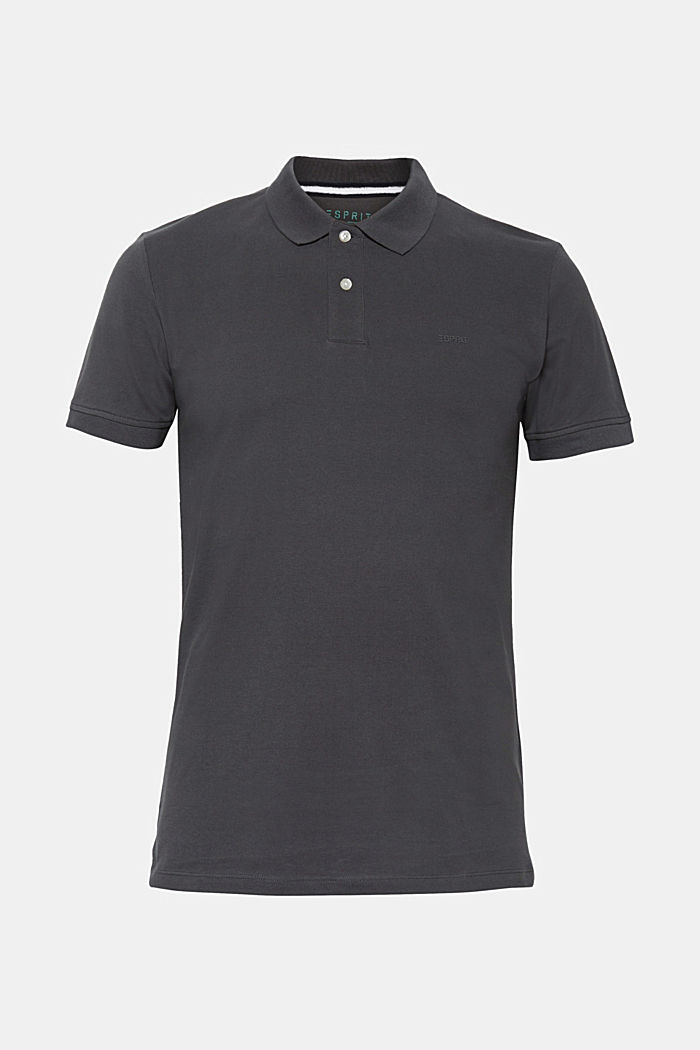 Piqué polo shirt in 100% cotton, DARK GREY, detail image number 0