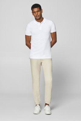 Piqué polo shirt in 100% cotton, WHITE, detail