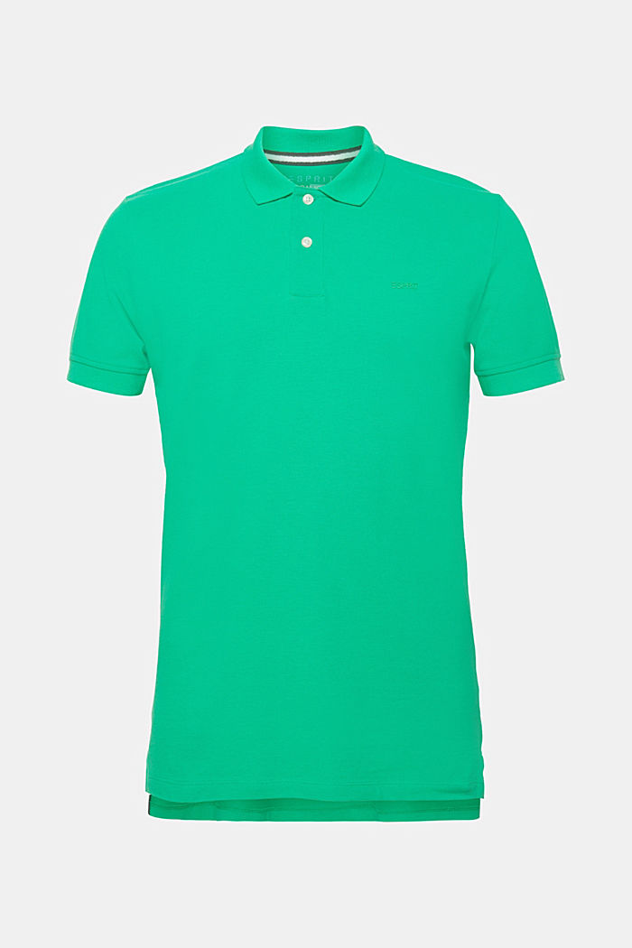 Piqué polo shirt in 100% cotton, GREEN, detail image number 0