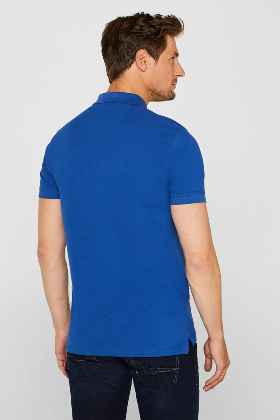 Piqué polo shirt in 100% cotton, BRIGHT BLUE, detail image number 3