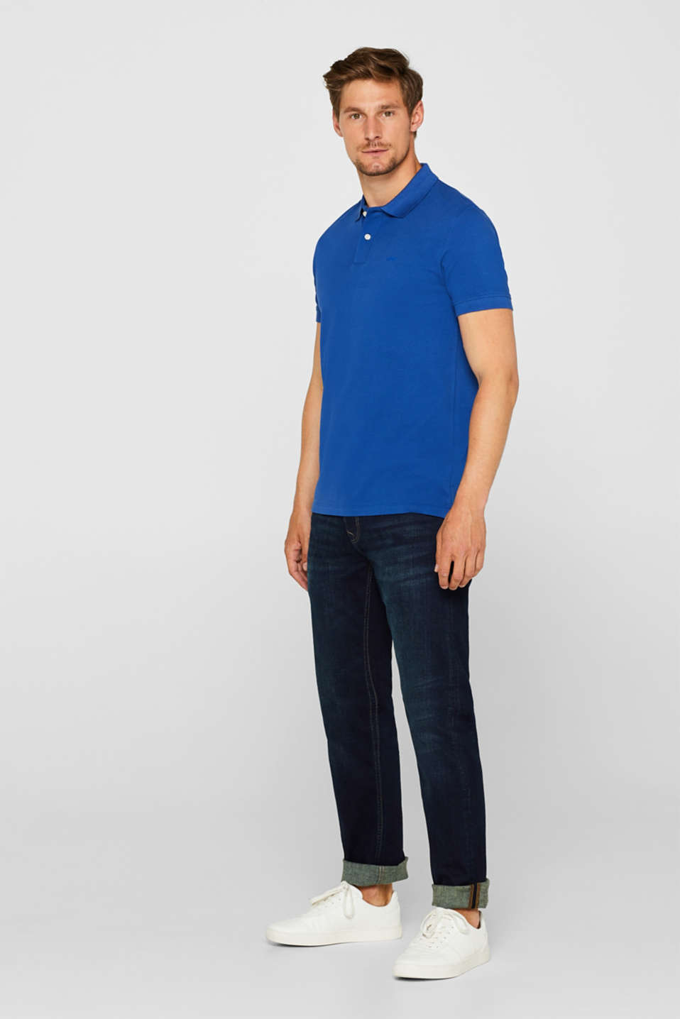 Piqué polo shirt in 100% cotton, BRIGHT BLUE, detail image number 2