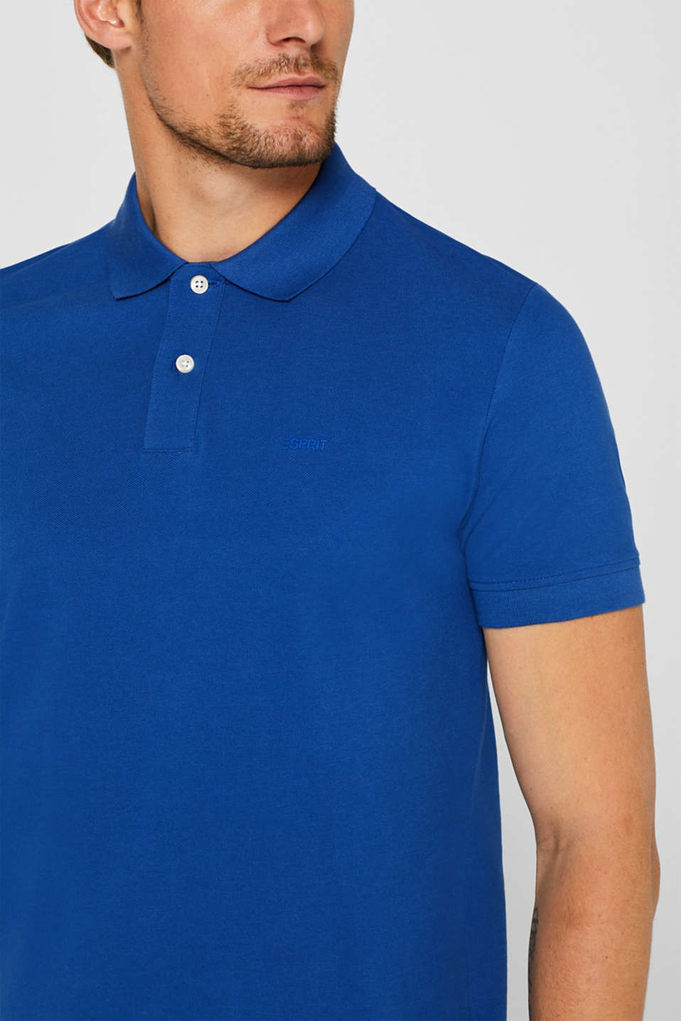 Piqué polo shirt in 100% cotton, BRIGHT BLUE, detail image number 1