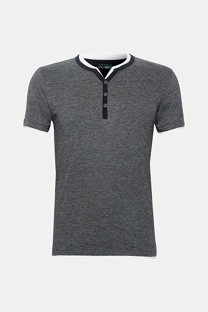 Layered top with a Henley neckline, made of jersey, ANTHRACITE, detail image number 0