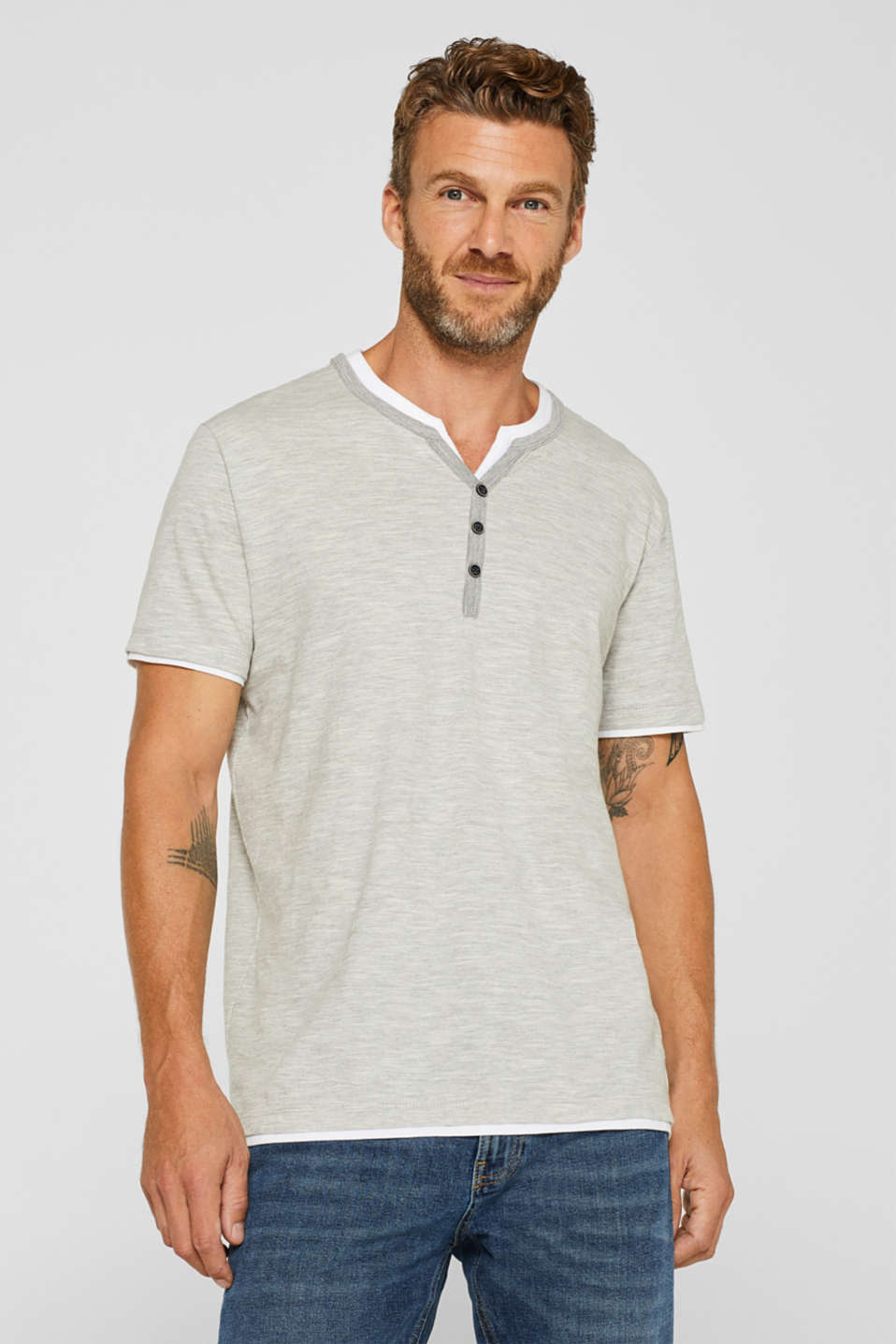 Layered slub jersey T-shirt