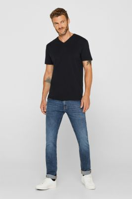 Jersey T-shirt in stretch cotton, BLACK, detail