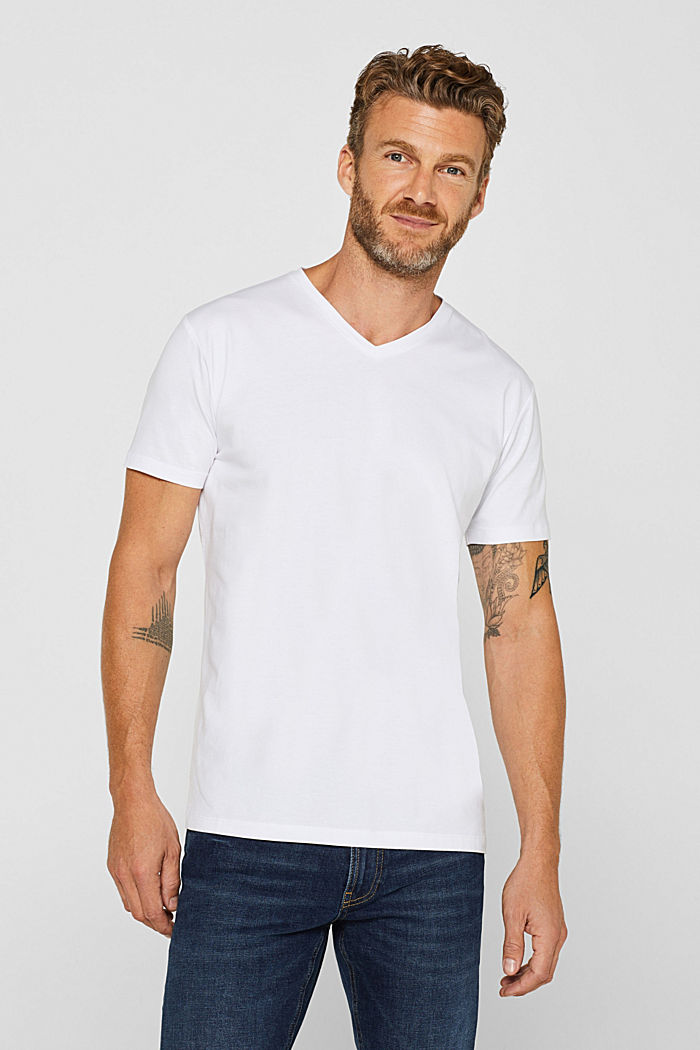 Jersey T-shirt in stretch cotton, WHITE, detail image number 0