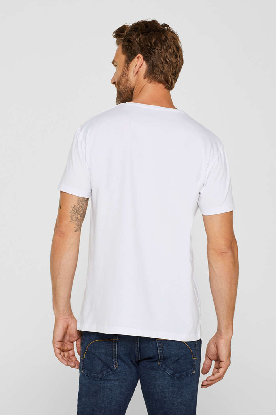 Jersey T-shirt in stretch cotton, WHITE, detail image number 3