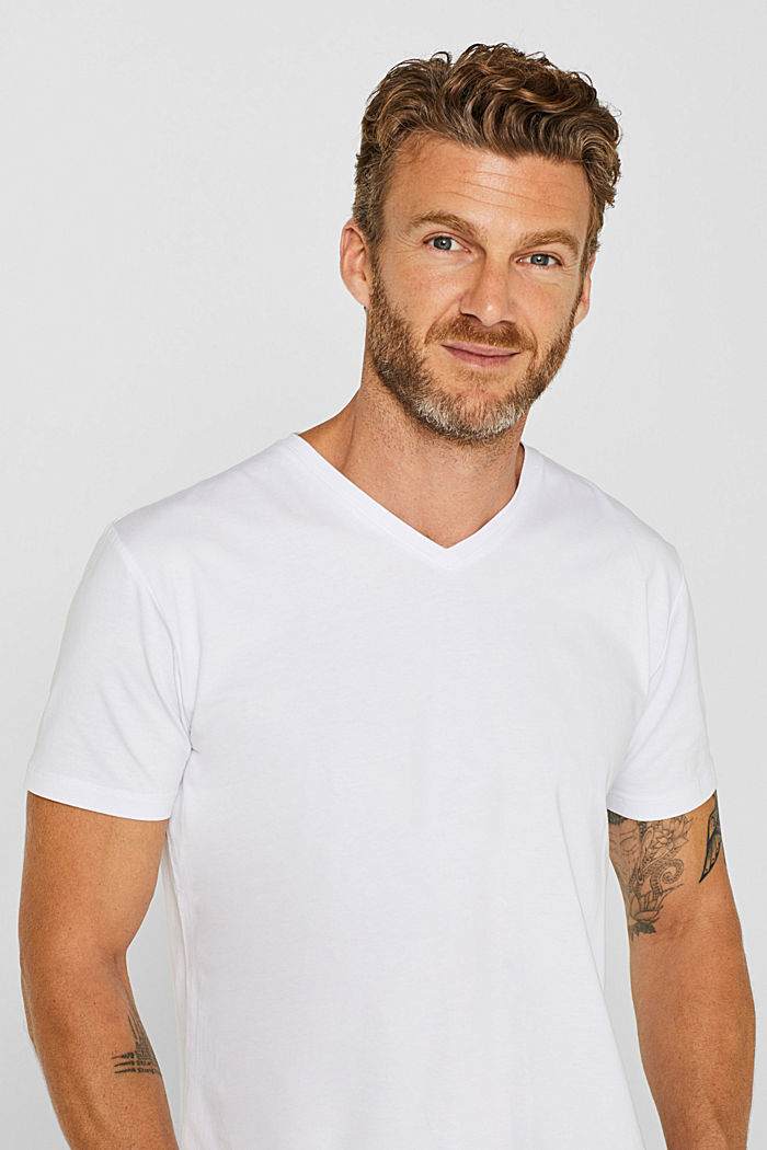 Jersey T-shirt in stretch cotton, WHITE, detail image number 5