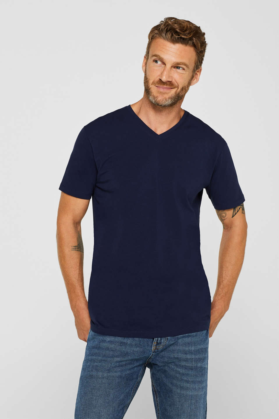 Jersey T-shirt in stretch cotton, NAVY, detail image number 0