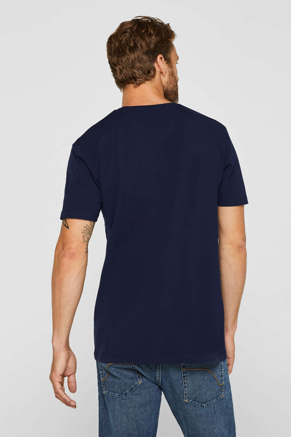 Jersey T-shirt in stretch cotton, NAVY, detail image number 3