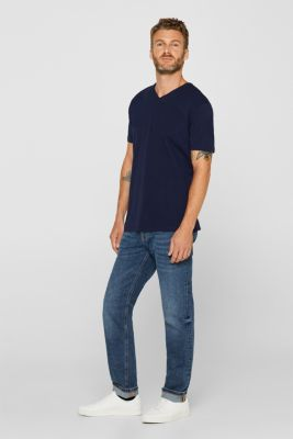 Jersey T-shirt in stretch cotton, NAVY, detail