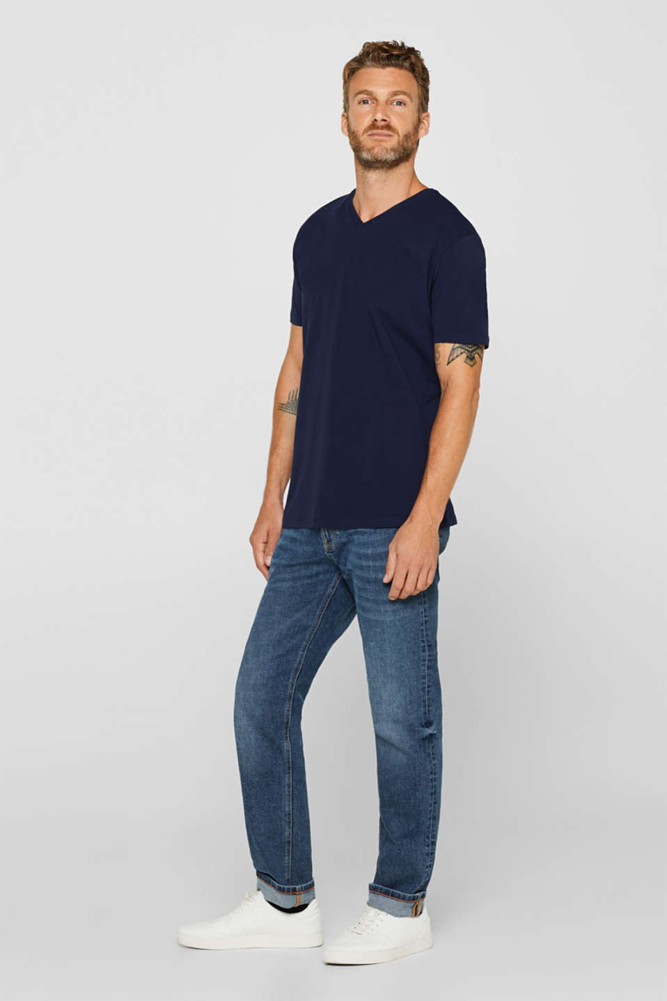 Jersey T-shirt in stretch cotton, NAVY, detail image number 2