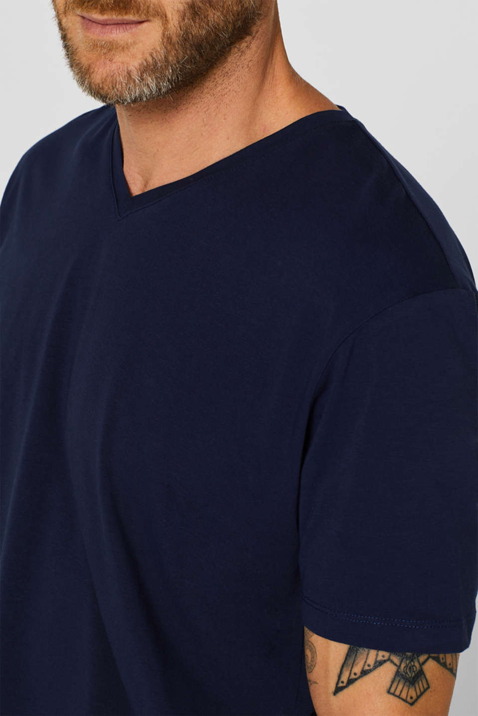 Jersey T-shirt in stretch cotton, NAVY, detail image number 1