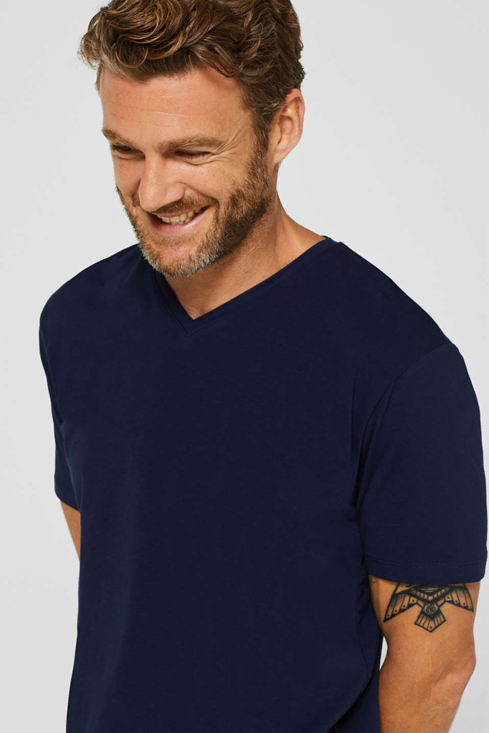 Jersey T-shirt in stretch cotton, NAVY, detail image number 5