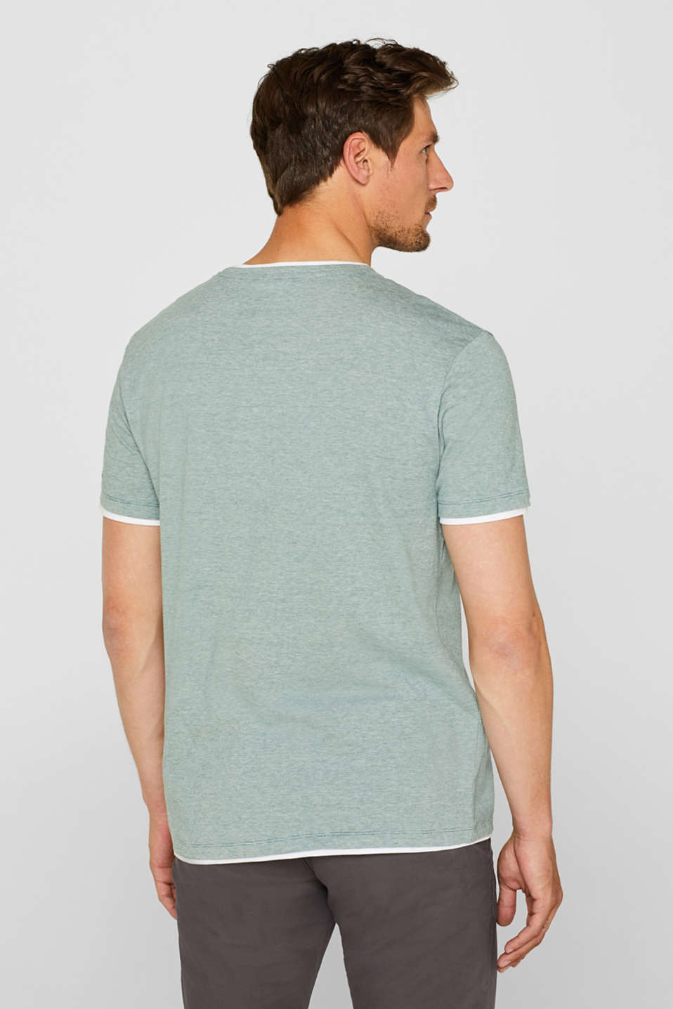 Layered top in jersey, 100% cotton, GREEN, detail image number 3