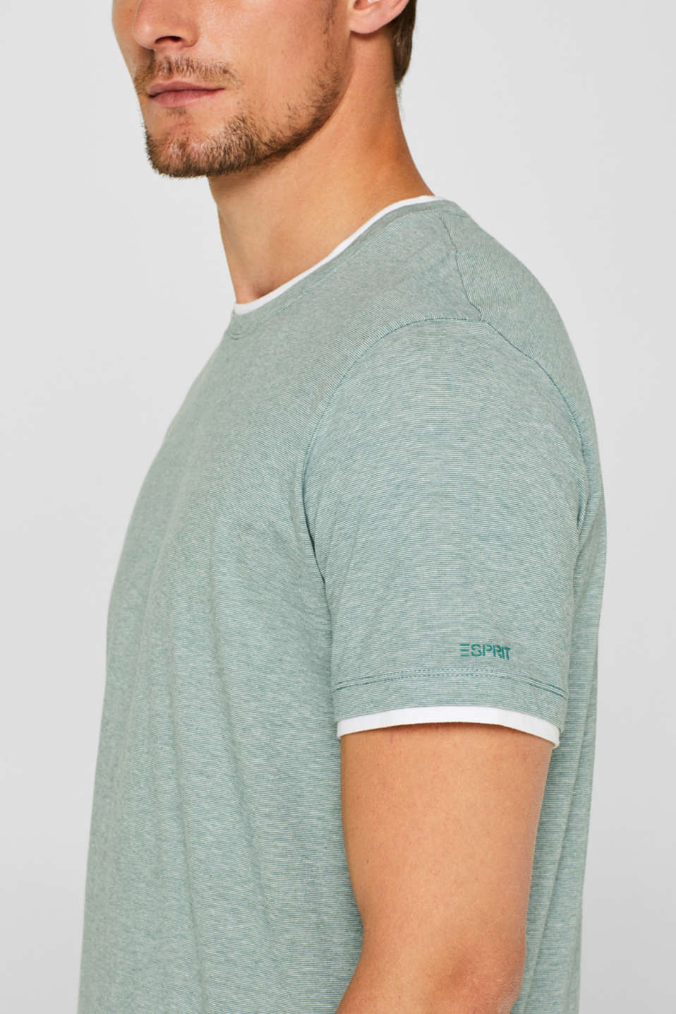 Layered top in jersey, 100% cotton, GREEN, detail image number 1