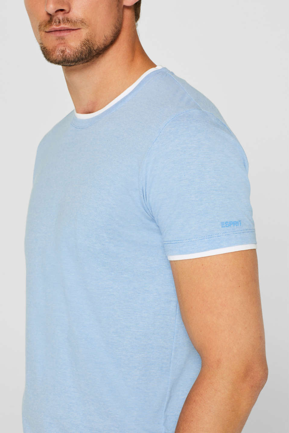 Layered top in jersey, 100% cotton, BRIGHT BLUE, detail image number 1