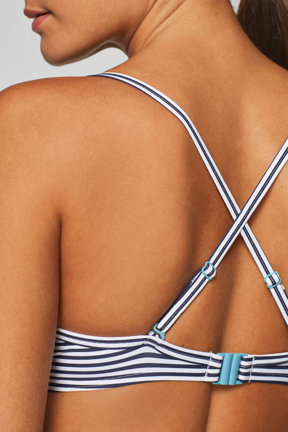 Unpadded underwire bra with a stripe print, NAVY, detail image number 4