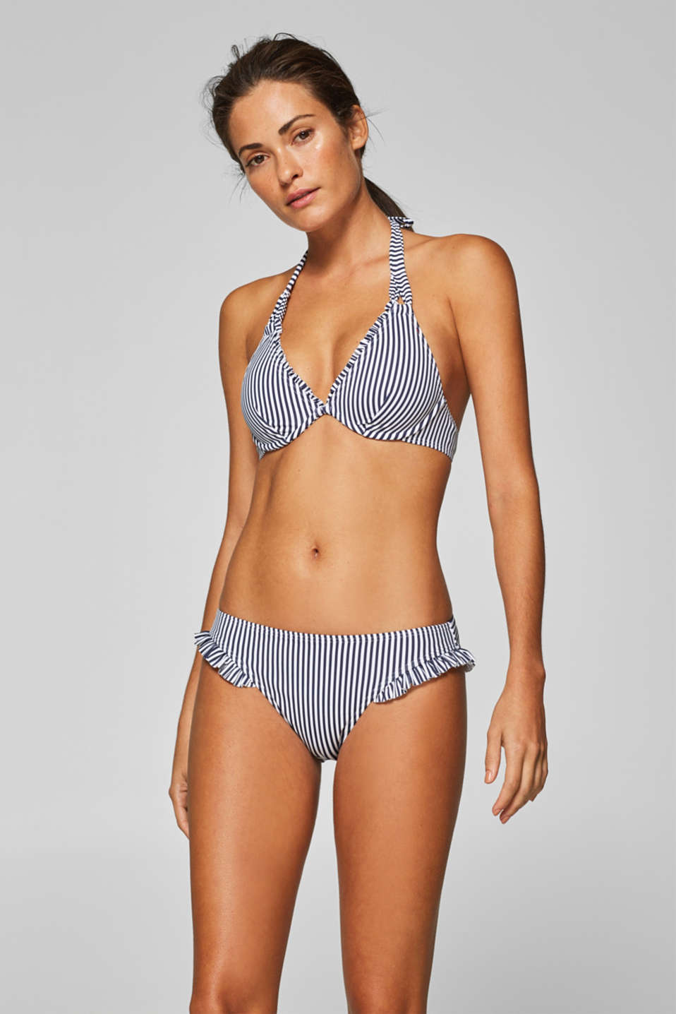 Esprit - Mini briefs with a stripe print and frills