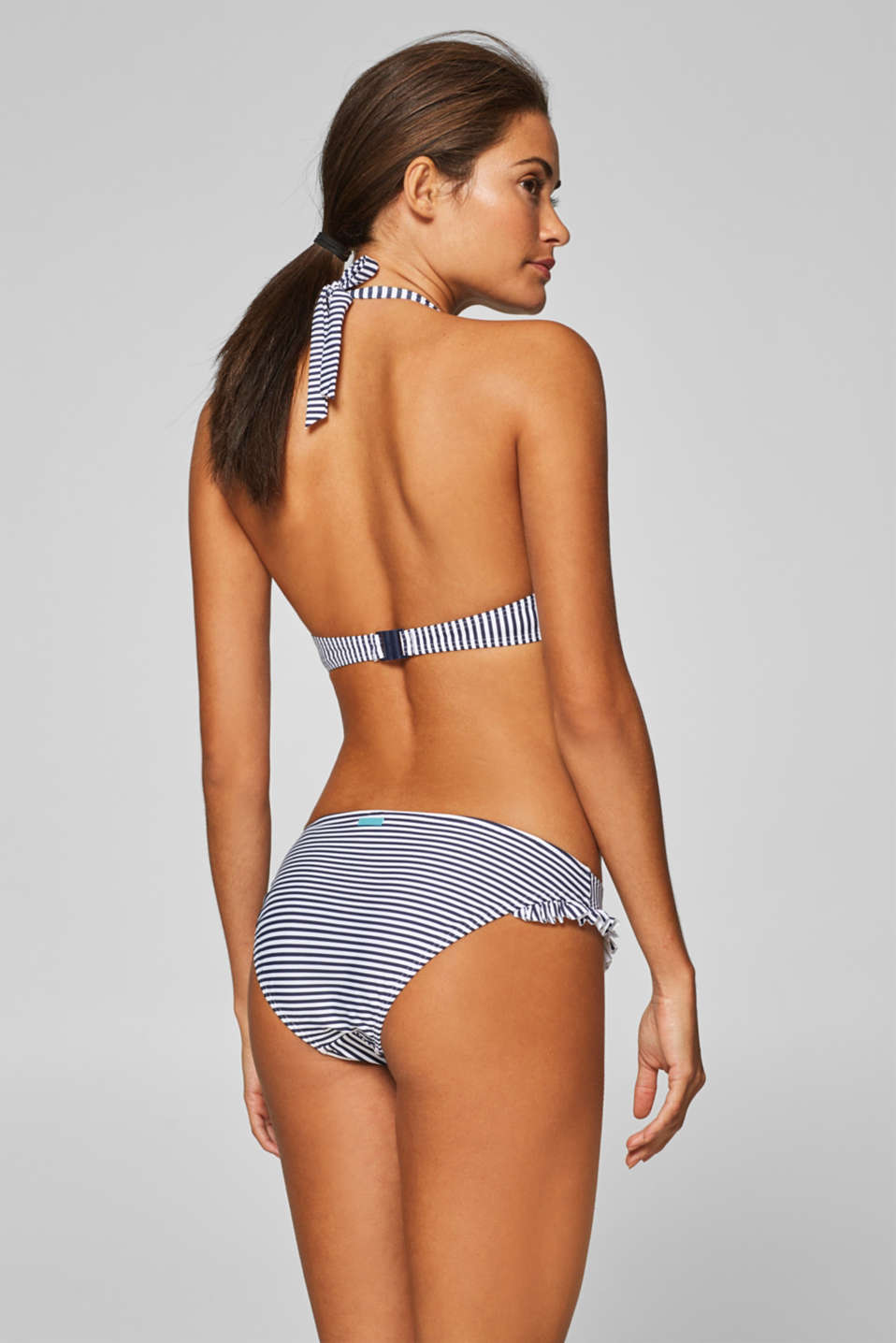 Mini briefs with a stripe print and frills, NAVY, detail image number 2