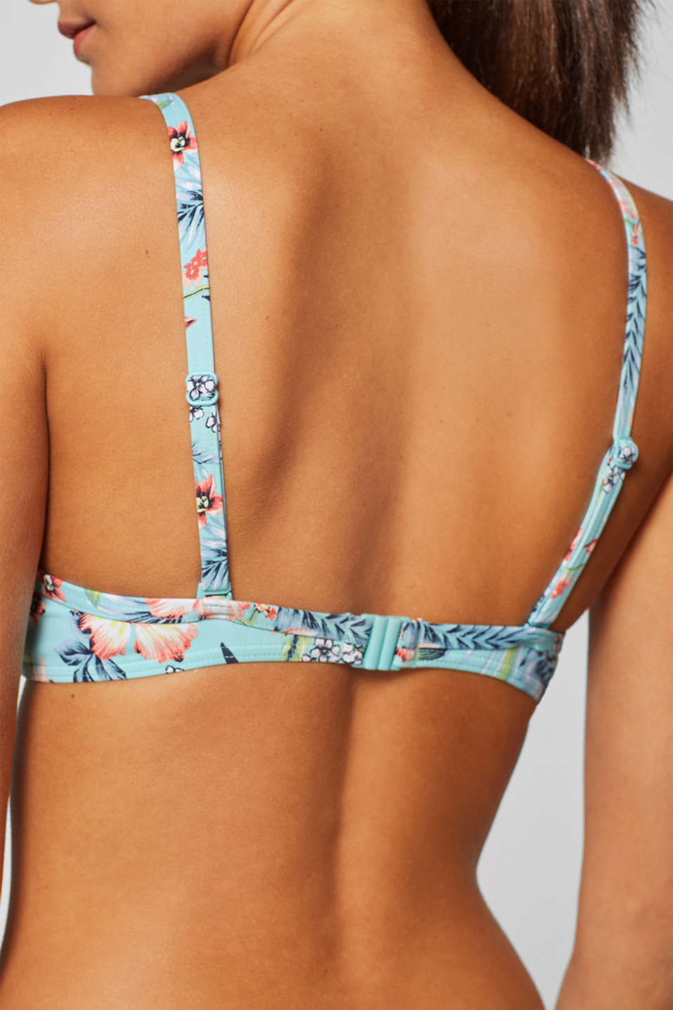 Padded underwire bikini top with a floral print, TURQUOISE, detail image number 3