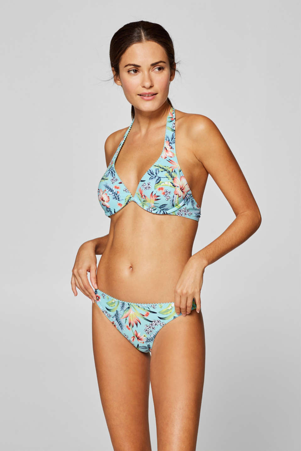 Esprit - Unpadded flexible underwire top with a floral print