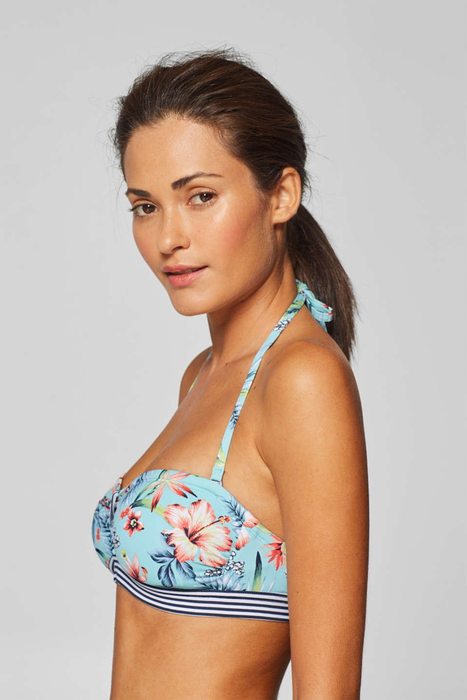 Padded bandeau top with a detachable halterneck, TURQUOISE, detail image number 4