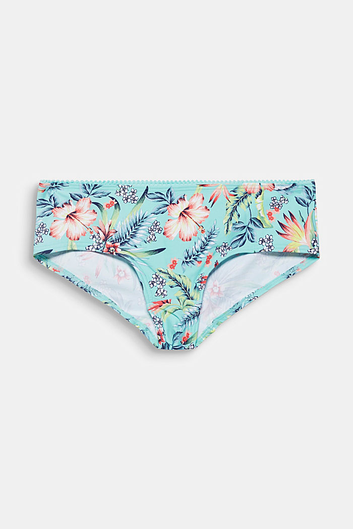 Hipster-Shorts mit Hibiskusblüten-Print, TURQUOISE, detail image number 0