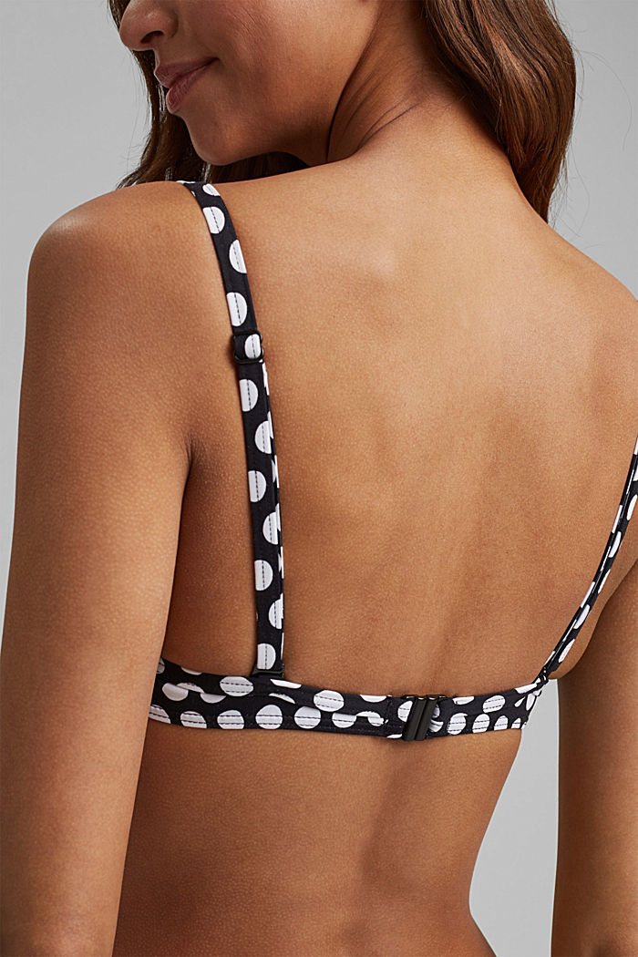 Padded underwire top with a polka dot print, BLACK, detail image number 3