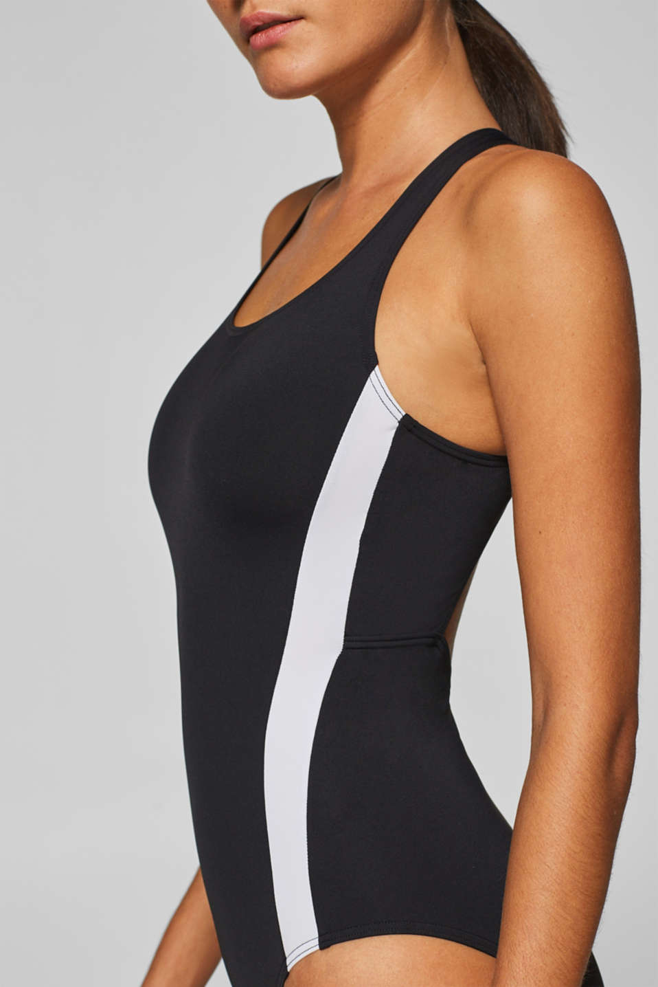 Sporty swimsuit with contrasting stripes, BLACK, detail image number 2