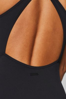 Sporty swimsuit with contrasting stripes, BLACK, detail