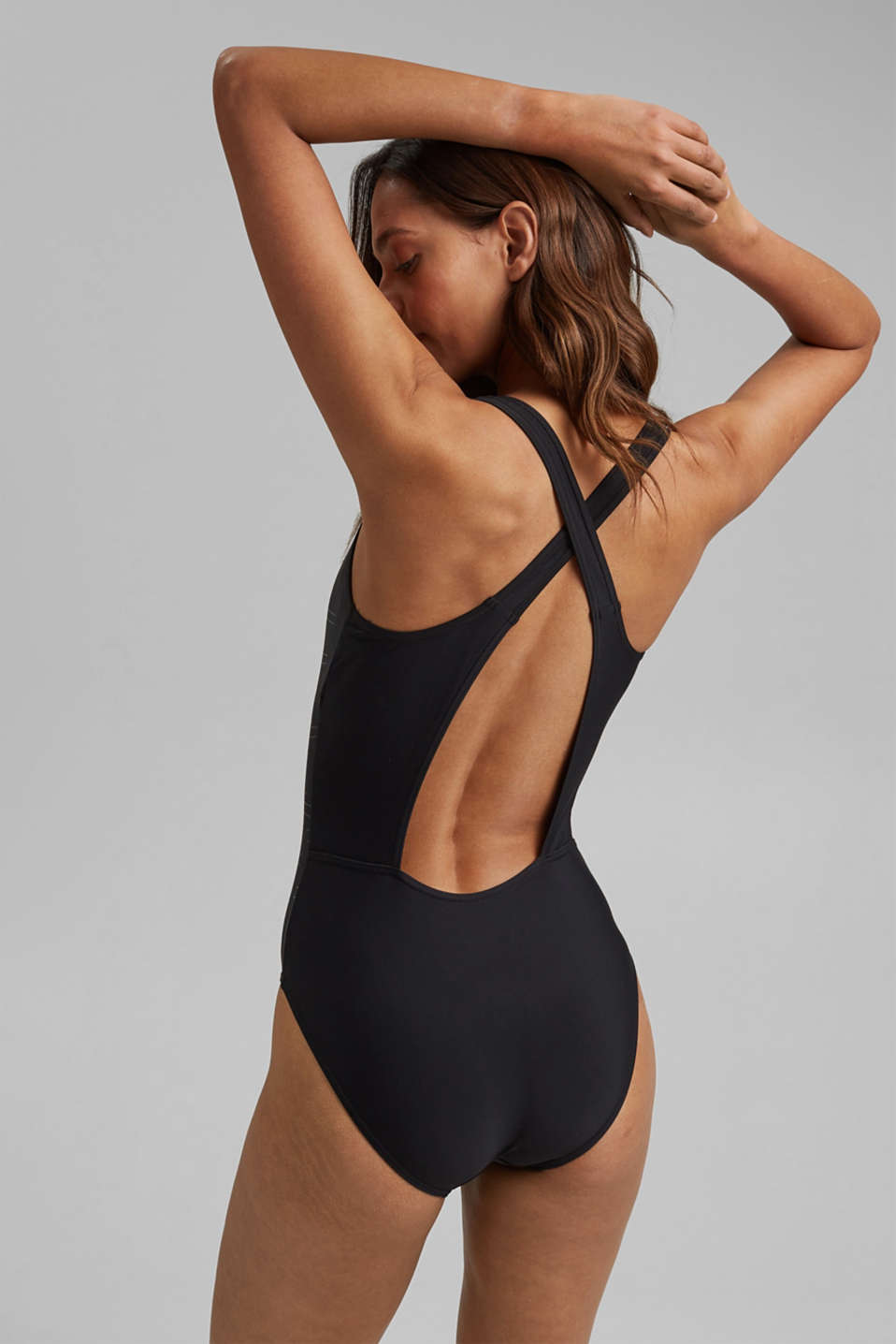 Unpadded swimsuit with a logo print, BLACK, detail image number 1