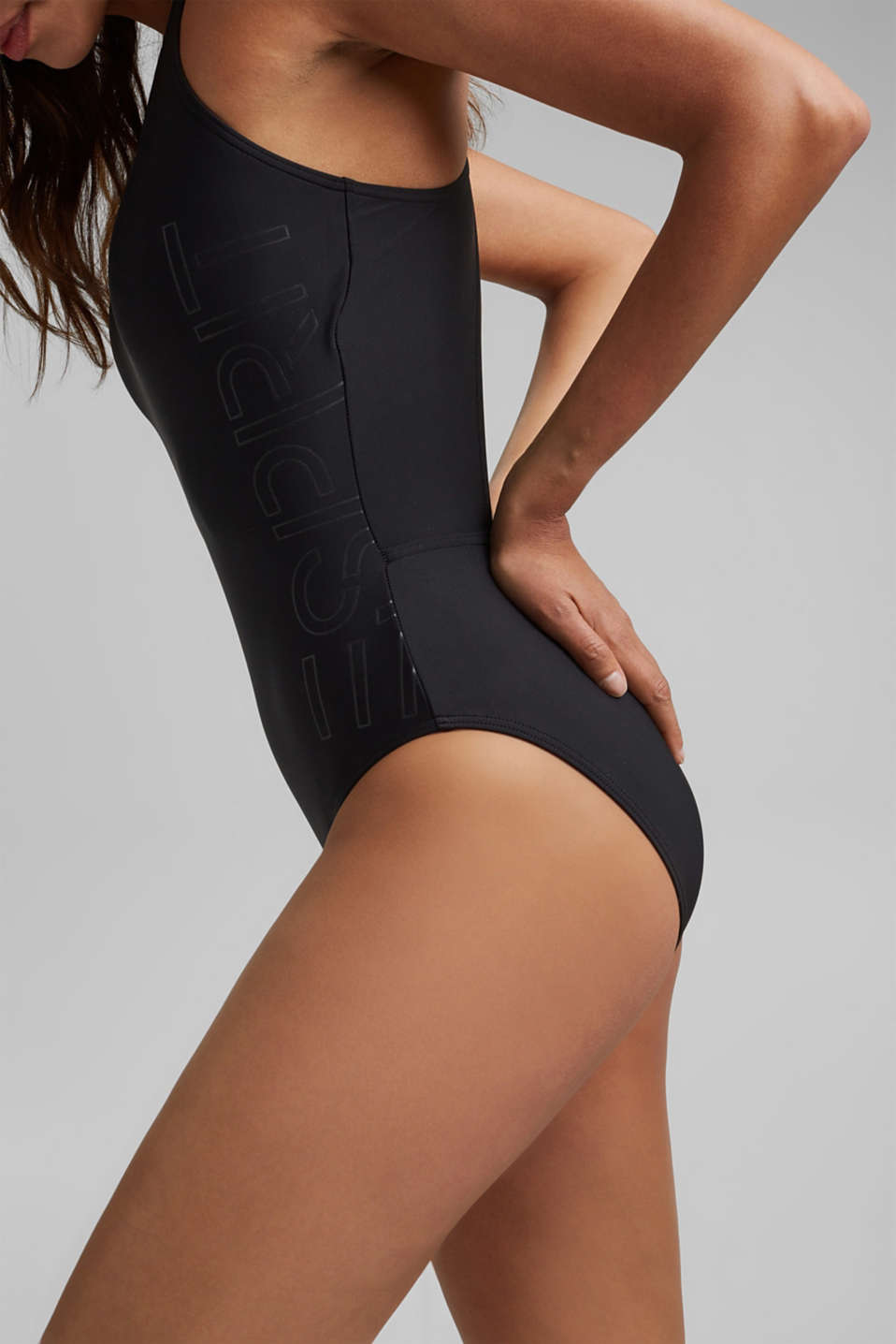 Unpadded swimsuit with a logo print, BLACK, detail image number 2