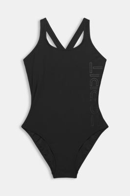 Swimsuit with a tonal logo print, BLACK, detail