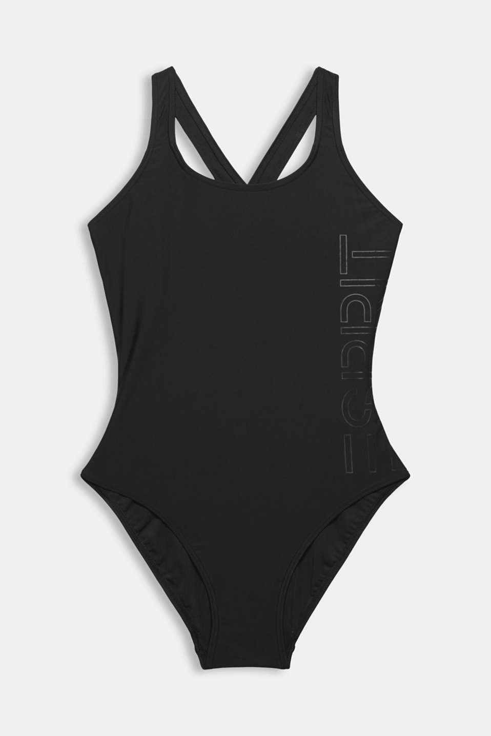 Unpadded swimsuit with a logo print, BLACK, detail image number 3