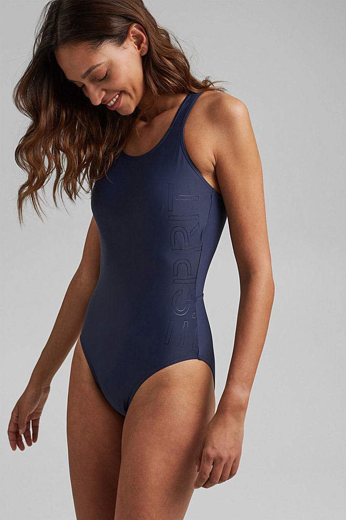 Swimsuit with a tonal logo print, NAVY, detail image number 0