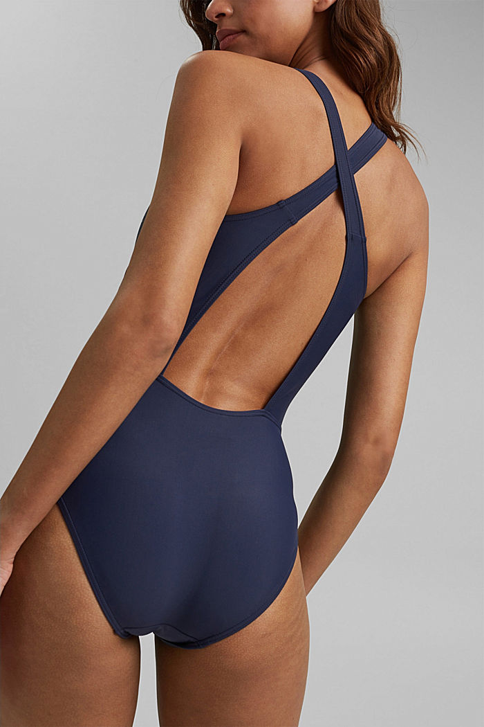 Swimsuit with a tonal logo print, NAVY, detail image number 3