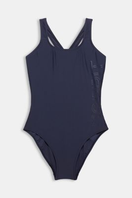 Swimsuit with a tonal logo print, NAVY, detail