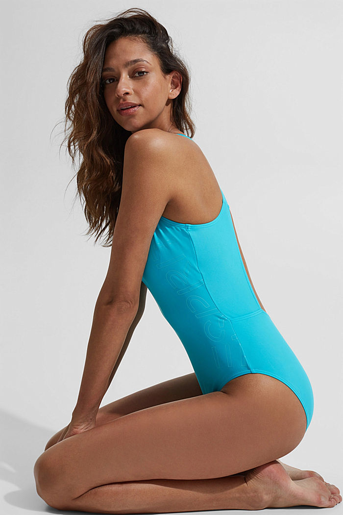 Swimsuit with a tonal logo print, TURQUOISE, detail image number 5