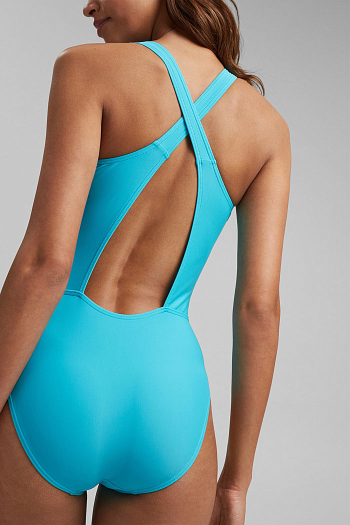 Swimsuit with a tonal logo print, TURQUOISE, detail image number 3