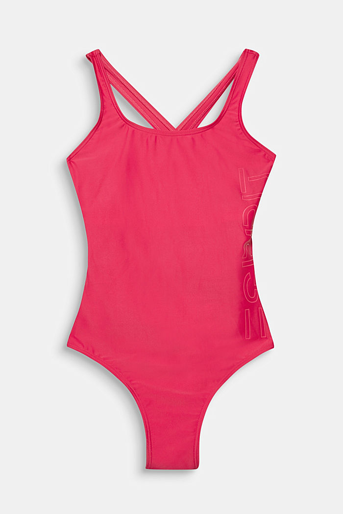 Swimsuit with a tonal logo print, PINK FUCHSIA, detail image number 0
