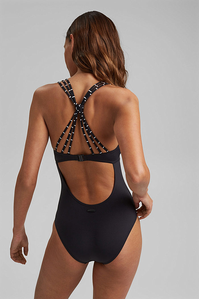 Swimsuit with striped straps, BLACK, detail image number 1